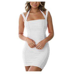 Women ScoopNeck Spaghetti Strap Bodycon Mini Dress